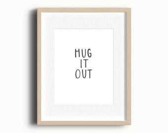 Hug It Out Playroom Art Printable   Kids Gallery Wall Printable   Playroom Art Printable