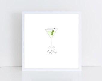 Martini Watercolor Printable   Bar Cart Art   Martini Printable   Dirty Martini Art