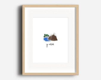 Go Outside Art Print | Kids Gallery Wall | Playroom Art | Boy Nursery Art | Cabin Art | Outdoorsy Art