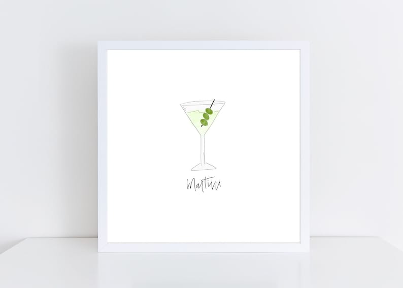 Martini Watercolor Print  Bar Cart Art  Martini Print  image 0