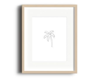 Palm Tree Doodle Watercolor Print | Palm Tree Watercolor Print | Palm Tree Gallery Wall Print