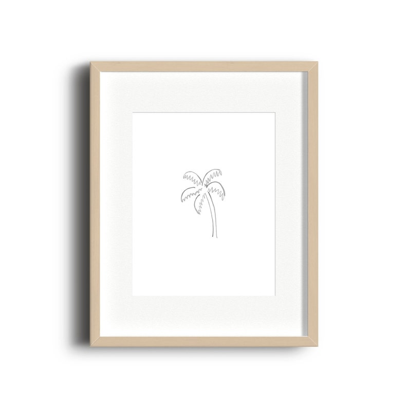 Palm Tree Doodle Watercolor Print  Palm Tree Watercolor Print image 0