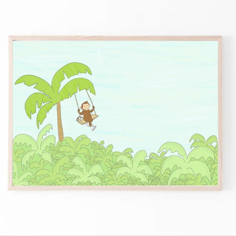 Jungle Print  Jungle Nursery Art  Monkey Art Print  Nursery image 0