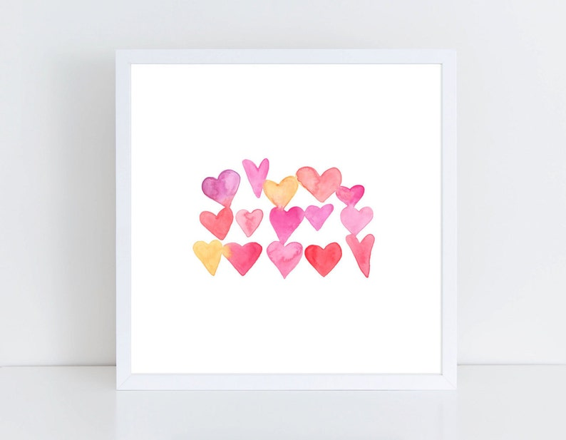 Pink & Orange Ombre Hearts Watercolor Print  Hearts image 0