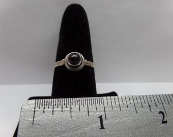 Vintage Sterling Silver Ring w/ Red Stone / FCM