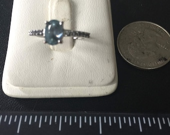 Vintage Sterling Silver Blue Topaz and Diamond Ring - Size 5-1/2 - AT