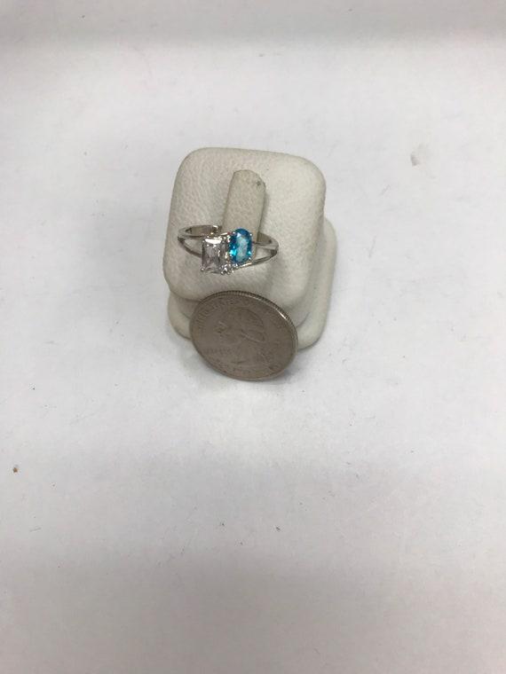 Smokey Grey Vintage Polished Metal Hammered Statement Ring Glass Amethyst Gift Aqua Green Silver Rhinestone Ring