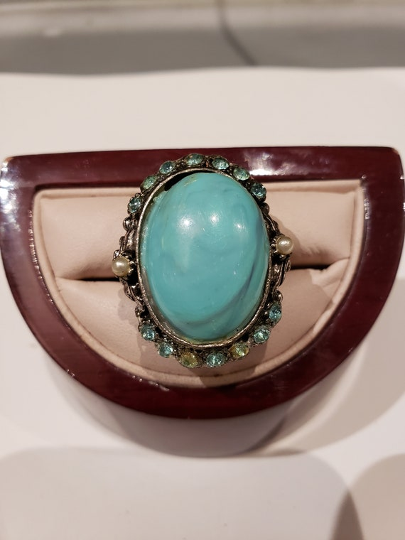 Vintage Silvertone Costume Faux Turquoise Ring Adjustable Size