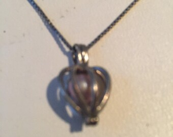 Vintage Sterling Silver Faux Pearl in Cage Pendant Necklace - AB