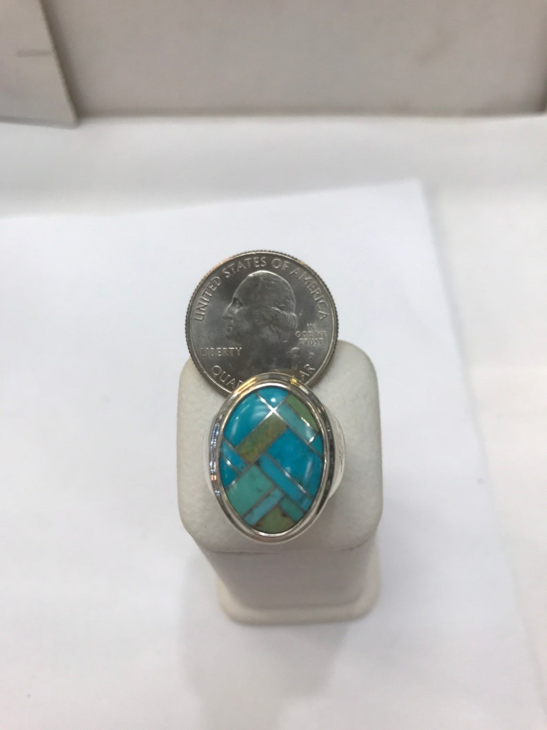 Turquoise Mosaic. Vintage Sterling Silver Ring