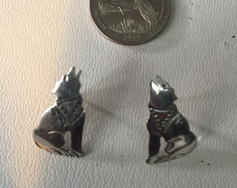 Vintage Sterling Silver Indian Wolf Earrings - AB