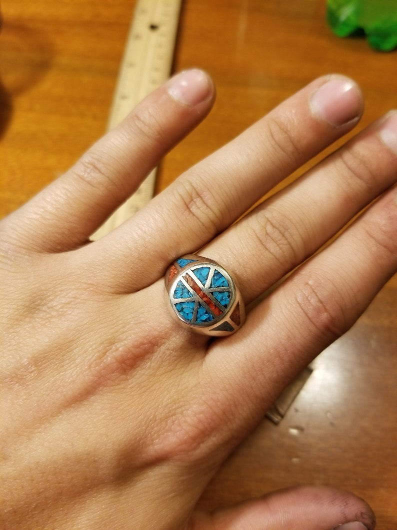 10.5g Size 11 Vintage Sterling Silver Inlaid Indian Ring
