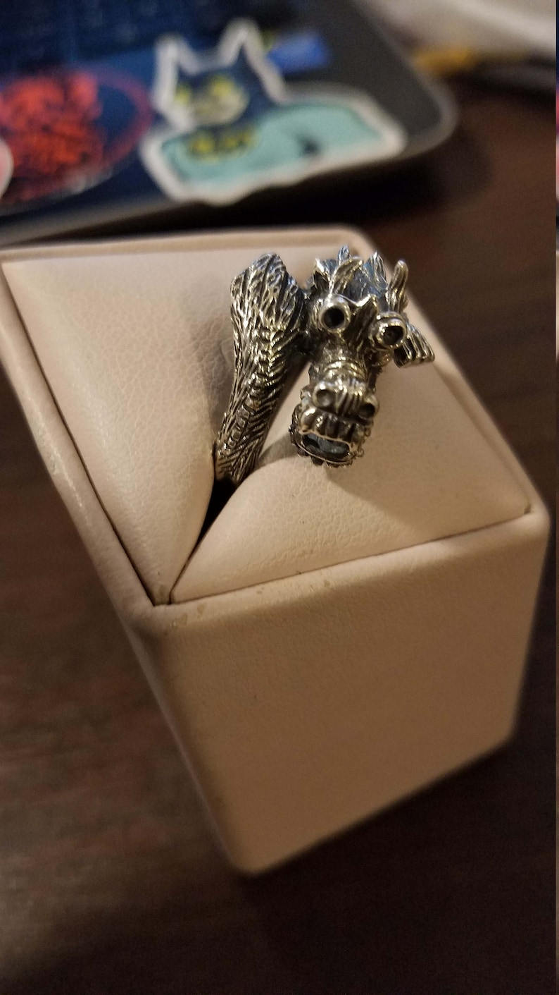 Vintage Sterling Silver Dragon Ring Size 10