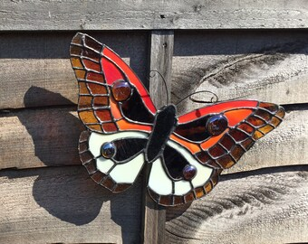 Hand made large Tiffany style stained glass butterfly
