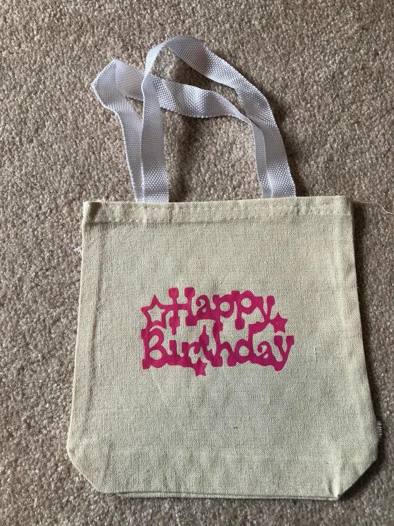Anniversaire, sac en toile, sac cabas, sac d'anniversaire, sac de soirée, sac cadeau, fête, joyeux anniversaire, sac, fait sur mesure, personnalisé,