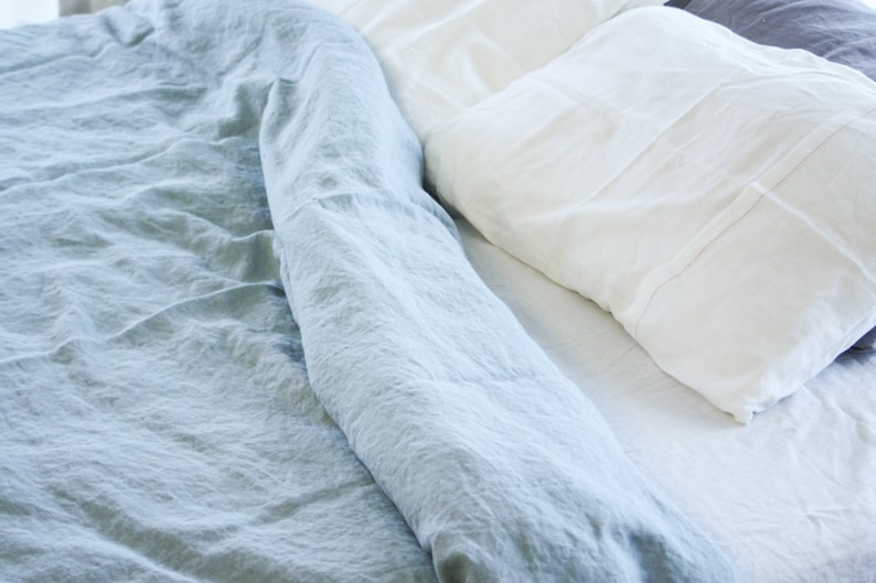 Blau Leinen Bettbezug Quilt Abdeckung Bio Leinen Bettbezug Cover Leinen Bettwäsche Umweltfreundlich Königin Bettbezug Boho Einstreu