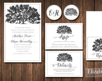 Printable rustic shabby chic boho southern oak tree wedding invitation + RSVP + Details + Thank You card +  2 envelope/decor stickers