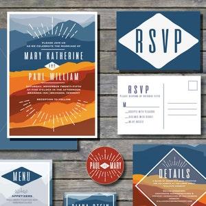 slate gray 2 envelope stickers RSVP Invite Thank You smoke blue Fall mountain wedding invitation printable