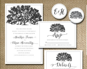 Printable rustic shabby chic elegant southern oak tree wedding invitation package + RSVP  + Details + Thank You card +  envelope stickers