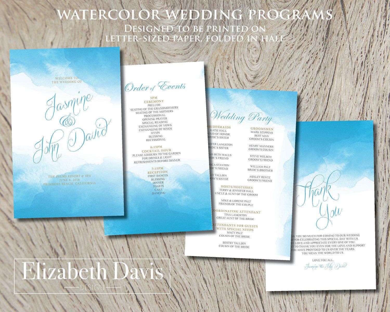 cf5c92d0633 Watercolor wedding programs turquoise cyan whimsical