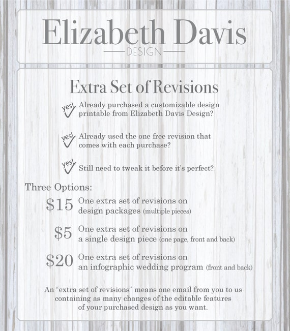 one extra set of revisions to an invitation package multiple etsy