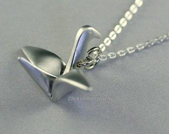 Origami necklace, silver origami necklace, silver bird necklace, origami crane necklace, gift idea, mother, minimalist jewelry