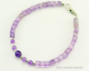 Natural stone bracelet, amethyst bracelet, purple stone bracelet, february birthstone bracelet, amethyst jewelry, minimalist, delicate