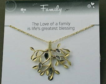 Family necklace, tree necklace, tree of life necklace, family jewelry, grand mother necklace, family gift, family tree, gold tree necklace