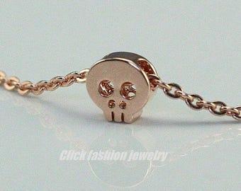 Tiny skull necklace, skull necklace, rose gold skull necklace, minimal necklace, gift under 20, skull jewelry, sugar skull necklace, cute