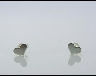 Heart earrings, silver heart stud earrings, small stud heart earring, sterling silver stud, heart jewelry, Valentines Day gift, Christmas
