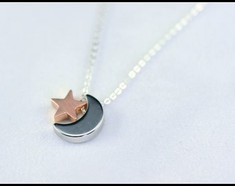 Personalized Moon And Star Necklace - silver moon and pink gold star necklace - Best, Friend Necklace - Girl Friend  - Christmas