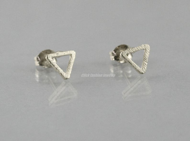 4748fcd66 Solid white gold triangle earring silver triangle stud solid   Etsy
