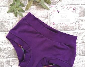 Purple Rainbow metallic FOIL Micro Scrunch Butt Sissy Mens bikini Dancer Panties