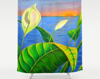 Calla Lily Sunset Shower Curtain