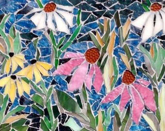 A Walk in the Garden: Original Stained Glass Mosaic Wall Art, Garden mosaic art, custom mosaic backsplash, flower mosaic, stained glass