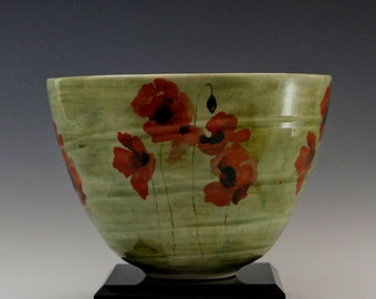 Poppies Red As Roses - Medium Sized Stoneware Bowl. Free Shipping US.
