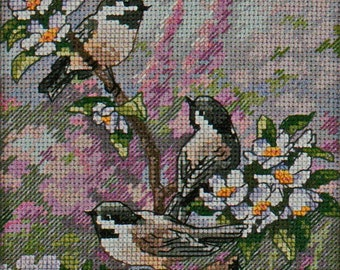 Cross Stitch Kit, Chickadees in Spring, UNOPENED Dimensions The Gold Collection Petites #6884. Free Ship US