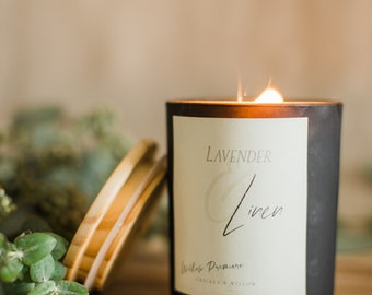 Lavender Crackling Wood Wick Candle Natural Coco Apricot Wax, Lavender and Linen Candle, Stay at Home Decor Mindfulness Gift for Her