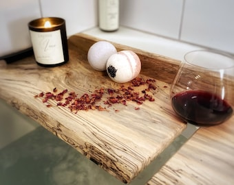 Luxury Custom Wood Bath Tray for Bathtub, Bath Caddy with Wine Glass Holder, Treat Yo Self Gift for Her, Mother's Day spa gift
