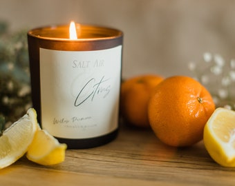 Coconut Soy Wax Candle with Crackling Wood Wick, Citrus Orange Sea Salt Scented Luxury Candle for Living Room, Kitchen, Best Gift for Woman