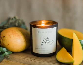 Passionfruit and Mango Scented Wood Wick Home Decor Candle Coconut Wax, Living Room decor, Sustainable Gift, Mother's Day gift for Her