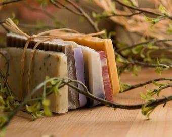 Homemade Bar Soap Sample Ends Gift Set, Travel Size Soap Bars for Men Women