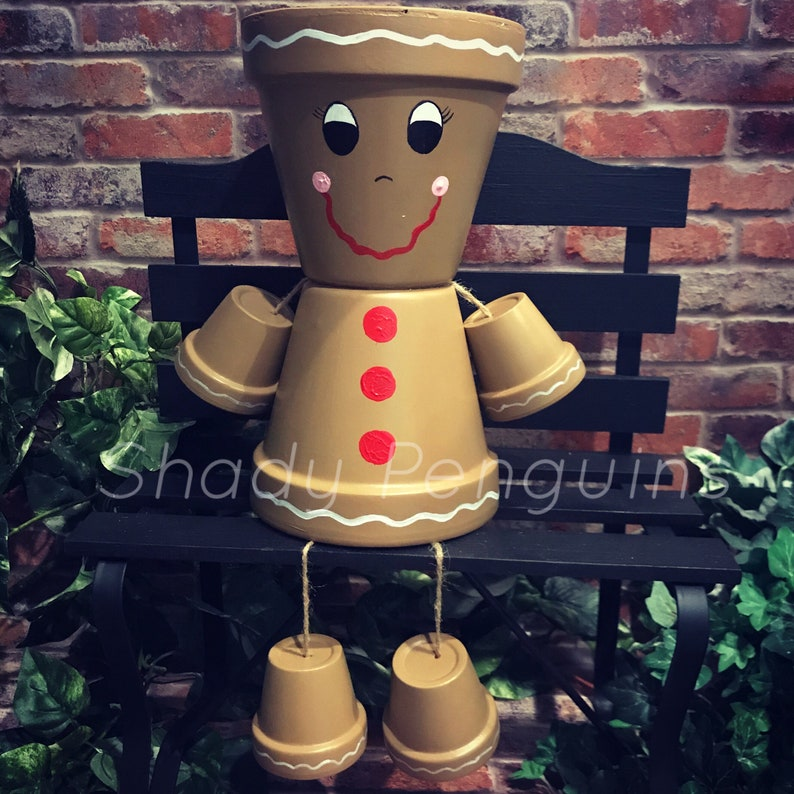 image 0 & Gingerbread Man Flower Pot /flower pot/ indoor decor/ outdoor | Etsy