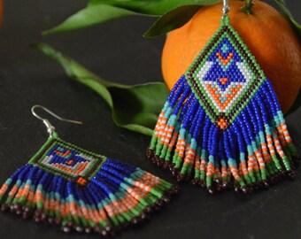 Beaded earrings, Native American style, seed bead earrings, beadwork jewelry, fringe earrings, dangle earrings, Boho style, gift for her