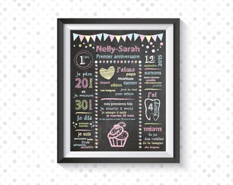 Displays first birthday personalized cupcake chalkboard, printable, poster party - 1 year - anniversary baby child - decorating party