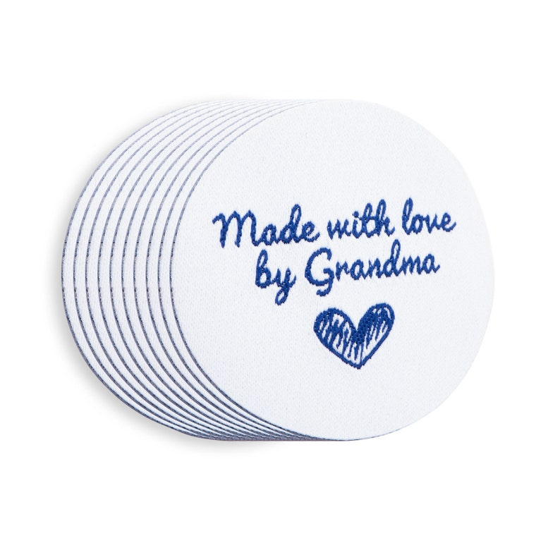 2e0b481e2b68 Wunderlabel Made with Love By Grandma Iron On Round Shape Easy Woven  Clothing Label Tags Ribbon Sewing Garment Fabric Knitting Quilting DIY