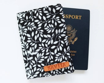 Black Passport Cover, Personalized passport holder, Gift for Coworker - SKPC22