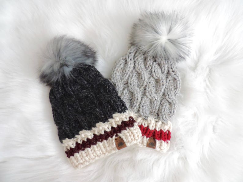 Monkey* Womens Winter Slouchy Knitted Hat Cable Faux Fur Pom Beanie Hat