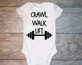 72e056018 Crawl walk lift pregnancy announcement onesie, baby announcement onesie,  Fit mom baby shower gift onesie, weightlifting barbell workout