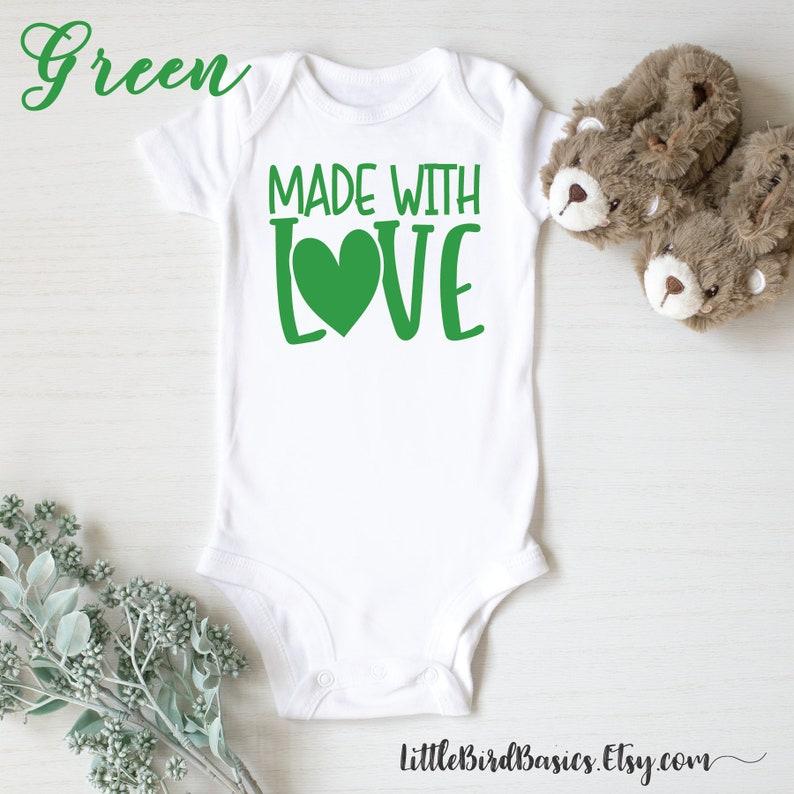 Made with love pregnancy announcement onesie   IVF baby announcement onesie   rainbow baby reveal   baby shower IVF onesie gift
